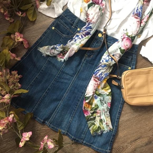 Pretty and Trendy Denim A-Line Skirt!